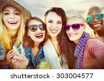 celebration cheerful enjoying... | Shutterstock . vector #303004577