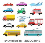 set of cartoon cute cars and... | Shutterstock .eps vector #303005543