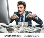 cheerful banker showing his... | Shutterstock . vector #303019673