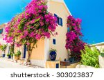 traditional greek house with... | Shutterstock . vector #303023837
