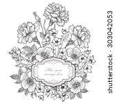 floral frame background. flower ... | Shutterstock .eps vector #303042053
