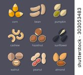 Nuts And Seeds Icon Set. Almon...