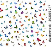 many different butterflies... | Shutterstock . vector #303055247