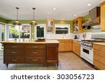 unique kitchen with green walls ... | Shutterstock . vector #303056723