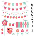vector summer decoration and... | Shutterstock .eps vector #303056987