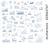 freehand drawing charts items... | Shutterstock .eps vector #303063767