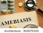 Small photo of Word Amebiasis. Medical concept.