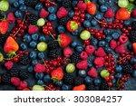 mixed fresh ripe berries  food...   Shutterstock . vector #303084257