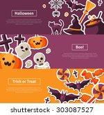 halloween horizontal banners....   Shutterstock .eps vector #303087527