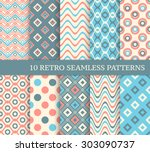 10 different retro seamless...   Shutterstock .eps vector #303090737
