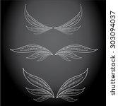 vector doodle wings set. angel... | Shutterstock .eps vector #303094037