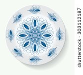plate with elegance tribal... | Shutterstock . vector #303112187