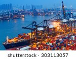 industrial port with containers | Shutterstock . vector #303113057