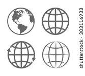 earth globe emblem. logo... | Shutterstock . vector #303116933