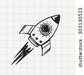 rocket ship doodle icon. hand... | Shutterstock .eps vector #303130523