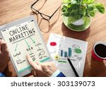 digital online marketing office ... | Shutterstock . vector #303139073