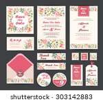 wedding floral template... | Shutterstock .eps vector #303142883