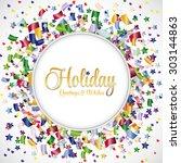 confetti colorful vector on... | Shutterstock .eps vector #303144863