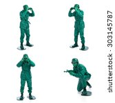 four man on a green toy soldier ... | Shutterstock . vector #303145787