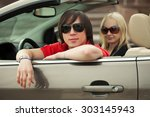 happy young couple driving... | Shutterstock . vector #303145943