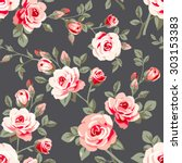 seamless pattern with pink... | Shutterstock .eps vector #303153383