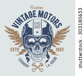 rider skull with retro racer... | Shutterstock .eps vector #303180653