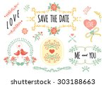 wedding romantic collection... | Shutterstock .eps vector #303188663