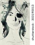 girl death   fantastic digital... | Shutterstock . vector #303190013