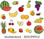 set of fruits and berries....   Shutterstock . vector #303199913