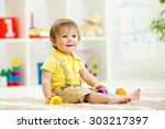 cute little child is playing... | Shutterstock . vector #303217397