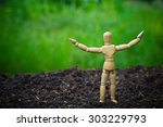 figurine of wooden stand on the ... | Shutterstock . vector #303229793