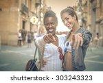 joyful friends | Shutterstock . vector #303243323