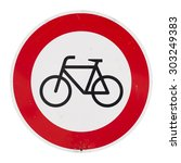 no bicycles forbidden sign or... | Shutterstock . vector #303249383