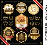 quality golden badges and... | Shutterstock .eps vector #303272423