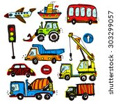 baby cars set. funny baby toys. ... | Shutterstock .eps vector #303299057