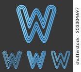 blue line w logo design set