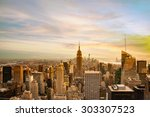 new york city skyline for... | Shutterstock . vector #303307523