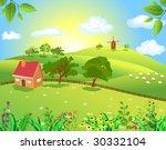 peaceful landscape | Shutterstock .eps vector #30332104