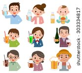 people who drink a drink | Shutterstock .eps vector #303334817