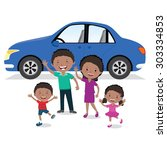 cheerful family and their car.... | Shutterstock .eps vector #303334853