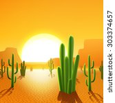 Cactus Plants In Mexican Deser...