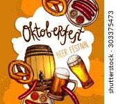 oktoberfest festival promo... | Shutterstock .eps vector #303375473