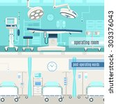 Medical hospital surgery operation room and post-operation ward concept  2 horizontal banners set abstract isolated vector illustration