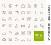 hotel booking outline icons for ... | Shutterstock .eps vector #303385697
