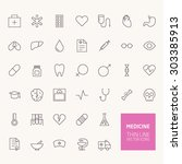 medicine outline icons for web... | Shutterstock .eps vector #303385913