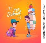 cute school children. school... | Shutterstock .eps vector #303396767