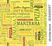 pizza words  tags. seamless... | Shutterstock . vector #303400097