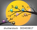 owls on tree at midnight with... | Shutterstock .eps vector #303403817