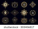 monogram design elements ... | Shutterstock .eps vector #303406817