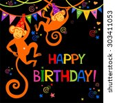 birthday card. celebration... | Shutterstock . vector #303411053